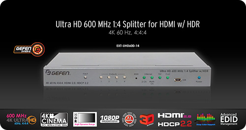2- 4- and 8-port, 4K Ultra-HD 600 MHz full bandwidth HDMI 2.0 splitters with HDR